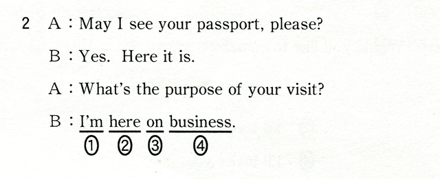 2 A:May I see your passport,please? B:Yes,Here it is. A:What's the purpose of your visit? B:I'm here on business.